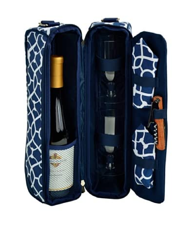Picnic at Ascot Trellis Blue Wine Carrier for Two