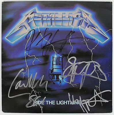 "Metallica Band Signed ""ride The Lightning"" Vinyl Album W/ 4 Sigs Psa/dna Y06829"