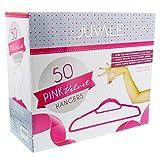 Velvet Hanger Pink - 50-Count Juvale Hot Pink Velvet Hangers for Shirts and Dresses with Bonus Accessory Bar - 18 Inch Hangers