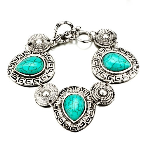 Pugster Drop Turquoise Silver Pattern Bracelets Murano Glass