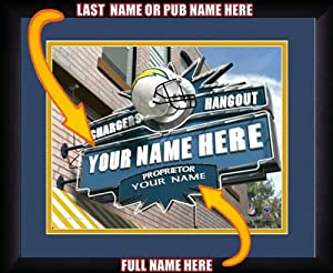 NFL Personalized Sports Pub Custom Framed Hangout Print San Diego Chargers by You