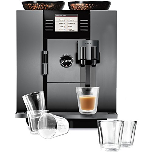 Jura Giga 5 Automatic Coffee Center With 6 Piece Bodum Canteen Double Wall Espresso Glass Set front-535187