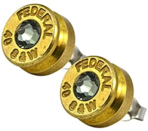 ENREVERIE Designer Vintage Finish Brass 40 S&W Bullet Shell Swarovski Crystal Stud Earrings