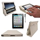 New Apple iPad 2 iPad 3 iPad 3rd Generation & New iPad 4 4th Generation 2012 With Retina Display (ALL Model Versions) WHITE Multi-Function Leather Case / Cover / Typing & Viewing Stand / Flip Case With Magnetic Sleep Sensor & Sunny Savers Screen Protector Shield Guard & iPad3 iPad4 Stylus Accessory Accessories Pack by InventCase�