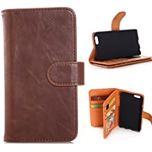 buy Iphone 6 Plus Case,Adela Shop Premium Leather Folio Wallet Function Flip Book Style,15 Card Slot,Cash Compartment Pocket With Magnetic Closure Stand Hard Pc Cover Skin For Apple Iphone 6 Plus (Coffee)