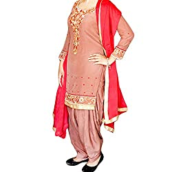 Reet Glamour Women 's Cotton Unstitched Rosy Brown Embroidered Suit