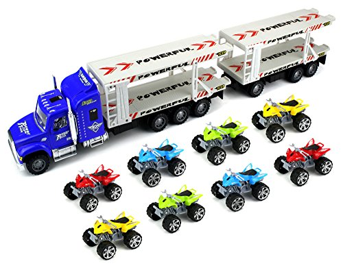Power ATV Trailer Children's Friction Toy Transporter Truck Ready To Run 1:32 Scale w/ 8 Toy ATVs (Colors May Vary) (Truck Trailer For Atv compare prices)