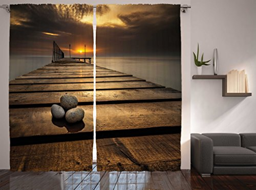 Scenic wooden bridge decor curtains by ambesonne black sea at dusk sunrise and tranquil scene - Epic window treatment decoration with slate blue curtain ...