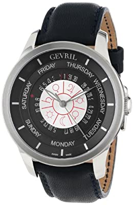 "Gevril Men's 2000_Set ""Columbus Circle"" Stainless Steel Automatic Watch with Blue Leather Strap"