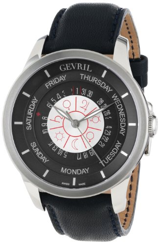 Gevril Men's 2000_Set Columbus Circle Automatic Dark Blue Leather Watch and Ballpoint Pen Watch Set