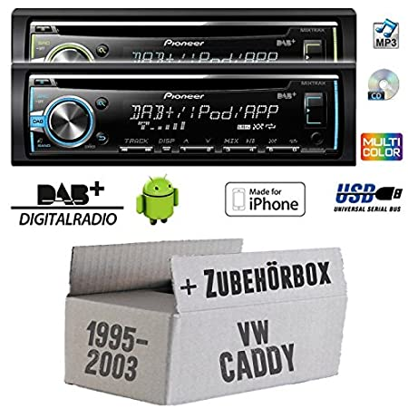 VW Caddy 2 9U 9KV - Pioneer DEH-X6800DAB - DAB CD/MP3/USB Autoradio - inkl. DAB Antenne - Einbauset