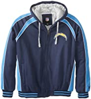 NFL San Diego Chargers Polyfilled Color Blocked Fleece Jacket Quilt Lined Men's by G-III