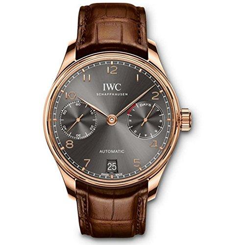 iwc-portugieser-homme-bracelet-cuir-marron-boitier-acier-inoxydable-plaque-or-automatique-montre-iw5