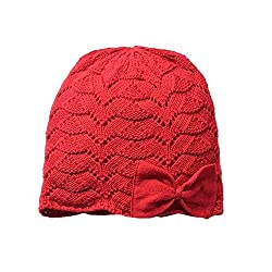 Home Prefer Baby Girls Soft Christmas Hat Cotton Crochet Knit Cap Cute Bowknot Beanie Hat Red S