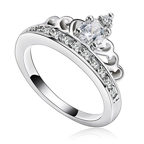 Aeici Jewelry, Silver Plated Rings for Women Cubic Zirconia SWA Element Princess Crown Tiara Ring Size 6 (Platinum Iphone 6 Case Red compare prices)