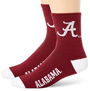Alabama Crimson Tide Team Color Quarter Socks by For Bare Feet