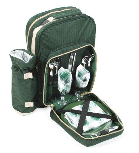 Greenfield Collection Luxury Two Person Picnic Backpack - Forest Green