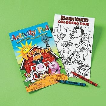Farm Animals Activity Pad With 2pk Crayon (1 Dozen) - Bulk - 1