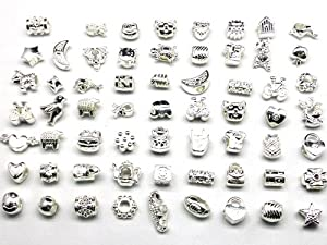 Nambeads © 10 x Mixed Shiny Silver plated Charms to fit Pandora style charm bracelets. Check out our affordable bulk packs of glass beads,charms,clip stops,rhinestones,enamels etc. Great mix!