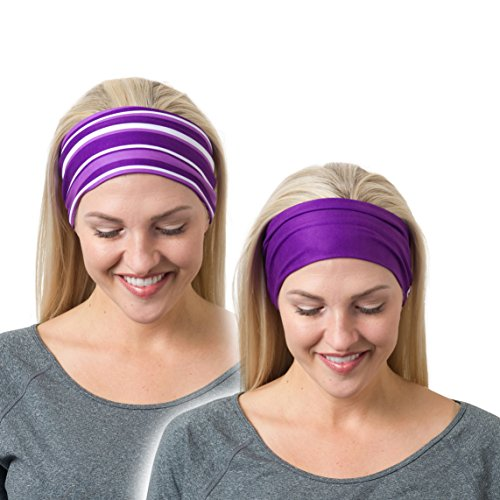 RiptGear Running Headbands Purple Solid and Striped