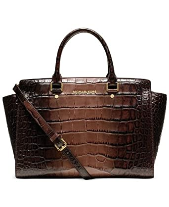 MICHAEL Michael Kors Large Selma Top-Zip Brown Crocodile Embossed Satchel