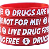 100 Child Red Ribbon Wristbands - Drugs Are Not For Me / Live Drug Free