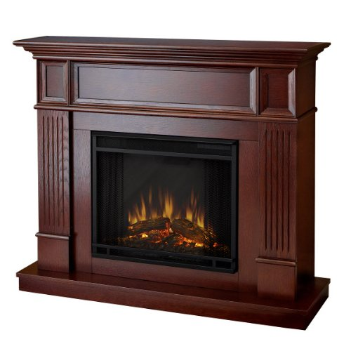 Bostonian Wall/Corner Convertible Ventless Electric Indoor Fireplace - Mahogany picture B007R4JFJO.jpg