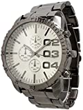 Men's Large Geneva Chronograph Style Metal Link Watch - Gunmetal/Silver