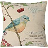 """SimpleDecor Jacquard Bird On the Tree Accent Decorative Throw Pillow Case Hand Painted Cushion Cover Cute Traditional Chinese Painting 18X18"""""""
