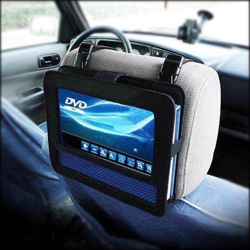Black Car Headrest Moust Strap Holder Case For Portable Dvd Player (9 Inch)