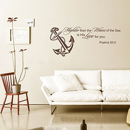 "Più Potente onde del mare è il suo amore per lei Wall Decal Pilette oceano Nursery Decor- sormontata da parete Art- Bible Verse Wall Decal, Vinile, Dark Gray, 20""h x46""w"