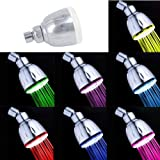 SODIAL(R) ABS Finish LED Color Changing Rainfall Round Shower Head Multicolor 7 Colors Change