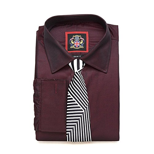 janeo-british-apparel-branded-classic-london-plains-shirt-double-cuff-long-sleeve-burgundy-size-165-