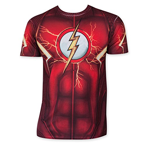 DC Comics Mens Flash Suit Up Sublimated Costume T-shirt XL