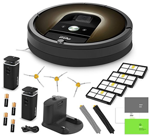 Best Price! iRobot Roomba 980 Vacuum Cleaning Robot + 2 Dual Mode Virtual Wall Barriers (With Batteries) + 3 Extra Side Brushes + 4 Extra HEPA Filters + A Set Of AeroForce Extractors + More