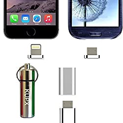 Android And Iphone Lightning Magnetic Cable Adapter ,Kupx Android To Android,Android To Lightning 2 In 1 Magnetic Adapter For Iphone 5 6S Samsung And Other All Android And Lightning Device Silver Set
