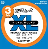 D'Addario EXL110-3D XL Nickel Wound Jeu de cordes pour guitare électrique Tirant Regular Light (.010-.046) Pack de 3 (Import Royaume Uni)