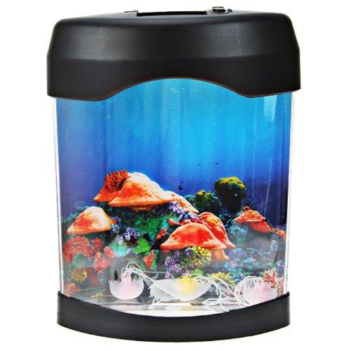 Great Deal Usb Desktop Mini Aquarium Fish Tank W Led Light Three Toy Fish