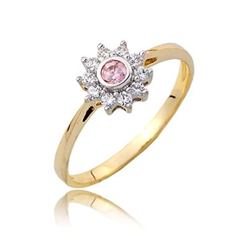 Pink zirconia centred cluster engagement ring