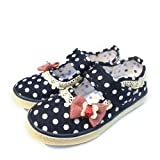 Mumuwu Baby Kids Girls Mary Jane Shoes Princess Cotton Flater with Bow Decoration (31-UK12 child-19.3cm, navy)