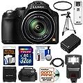 Panasonic Lumix DMC-FZ70 Digital Camera (Black) with 32GB Card + Battery + Case + Flash + Tripod + HDMI Cable + Accessory Kit