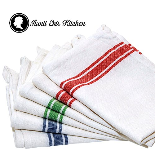 Kitchen Dish Towels with Vintage Design for Kitchen Decor Super Absorbent 100% Natural Cotton Kitchen Towels (Size: 25.5 x 15.5 inches) White with Red, Green and Blue, 6-Pack (Dish Towels Made In Usa compare prices)