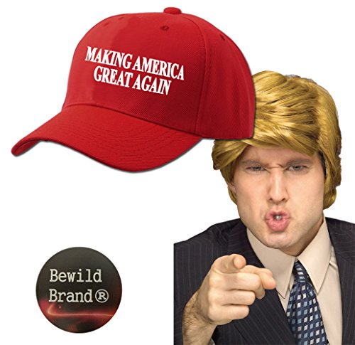 Halloween Costume Wig & Hat - Making America Great Again Solid Red Hat