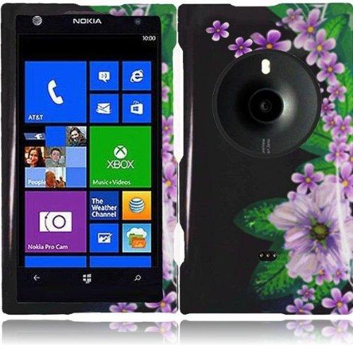 Lf Green Flower Designer Hard Case Cover, Lf Stylus Pen & Lf Screen Wiper Bundle Accessory For At&Tnokia Lumia Elvis 1020