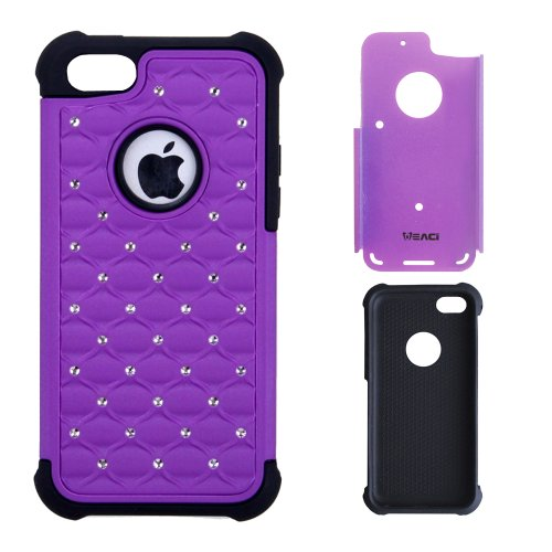 Meaci® Iphone 5 5S(Not For 5C) Combo Hybrid Case Glitter/Bling Studded Diamond Dual Layer Pc&Silicone Protective Case 1X Diamond Anti-Dust Plug Stopper(Random Color) (Purple&Black) front-600560