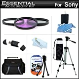 "Essential Accessory Kit For Sony DCR-SX45 Handycam Camcorder Includes 50"" Tripod + Deluxe Case + 3PC Filter Kit (UV-CPL-FLD) + Cleaning Kit + Screen Protectors"