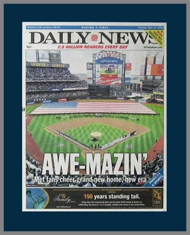 New York Mets - Awe-Mazin - Home Opener 2009 - Wood Mounted Newspaper Print