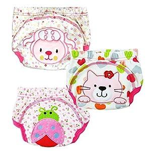 3pcs los pantalones del entrenamiento del bebé orinal higiénico para la muchacha del muchacho infantil Niños con 3 capas (Tamaño: M / 80, fille)