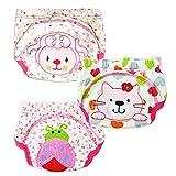 3pcs Baby Trainerhosen Toilette Töpfchen Hosen für Jungen Mädchen Kind Kinder mit 3-Schicht (Größe: M / 80, Mädchen)