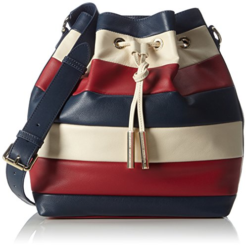 Tommy Hilfiger DAY CHIC LEATHER BUCKET RWB STRIPE AW0AW02012 Damen Schultertaschen 25x32x14 cm (B x H x T), Mehrfarbig (Midnight/Scooter Red/Turtledove 910 910) thumbnail